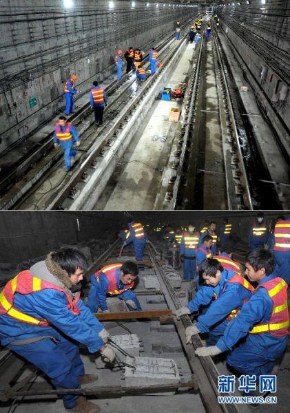 上图:1月27日拍摄的已整体抬升修复的上海地铁4号线沉降段路基。下图:1月23日,工人在上海地铁4号线沉降段整体抬升沉降路轨。新华社发(钮一新 摄)