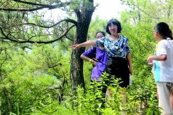 青岛农业大学生命科学院的辛华教授带领学生考察濒危植物。