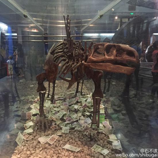 近日有人在北京自然博物馆发现,一层的恐龙展柜里,竟然也有人投钱,让人啼笑皆非。