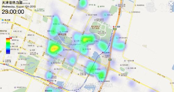 天津爆炸前该区域人口热力分布图