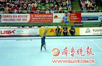 ◤誇斯進行自由體操項目。