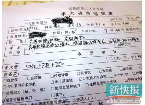 深圳市第二人民医院做甲状腺手术多收750元?