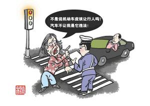 南京集中整治行人闯红灯 漫画解析市民雷言雷语图片