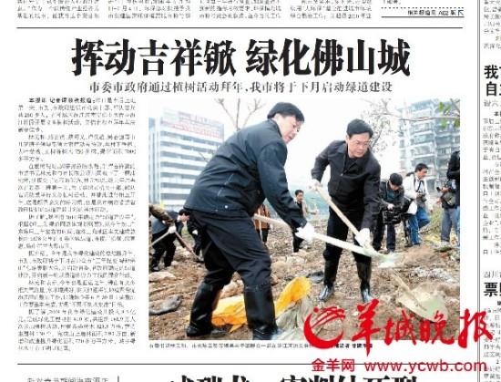 广东佛山铲平300多棵树系原市委书记带头所种