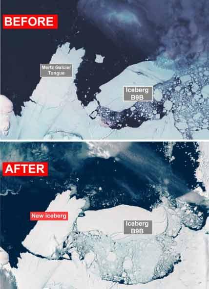 南极80公里长巨型冰山崩离 将影响全球气候