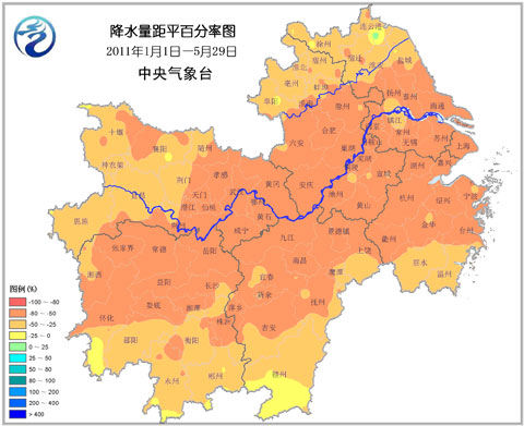 今年以来长江中下游地区降水量距平百分率分布图