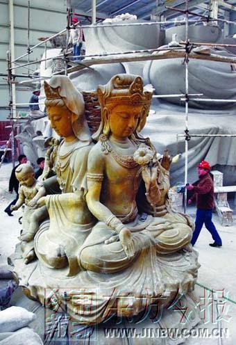 我国首座四面坐莲观音铜像开始浇铸 铜像高约23米