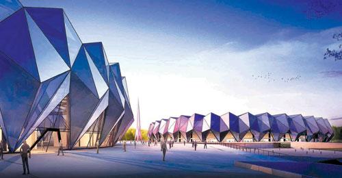 4.16亿元的西宁市海湖体育中心开建图片