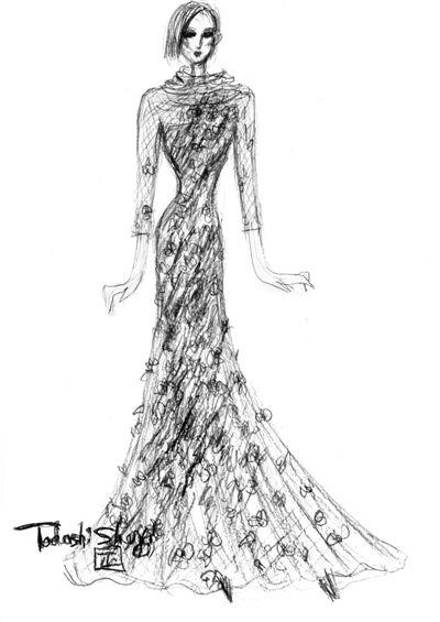 蕾丝晚礼服手绘