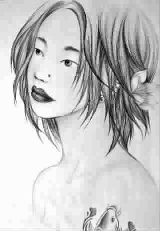 单眼皮女孩(彩色铅笔画)