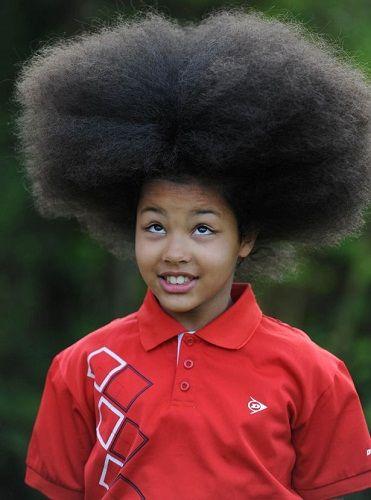 男孩留巨型 爆炸头 发型 为慈善剪发募捐 图 新浪新闻
