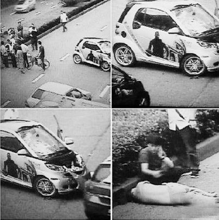 肇事司机打电话报警。