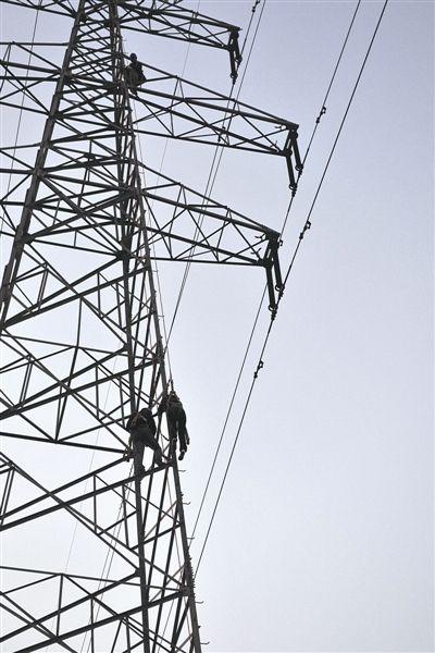 塔上寒风瑟瑟,还有22万伏的高压电线悬着,母子俩随时都有危险.