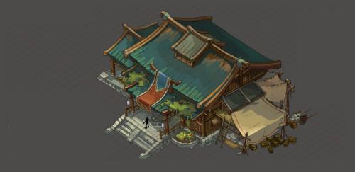 单个欧式游戏场景建筑