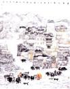 高原人家 2005年 200cmx140cm 纸本设色 纪连彬