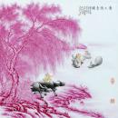 粉墨彩《唐人诗意图》瓷板画