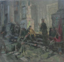 1977年 《露宿街头》 油画