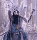 张培成《蓝胡武将》90×96cm