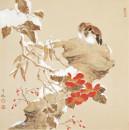 山茶双禽图66cm×66cm