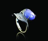 白18K金镶紫罗兰翡翠戒指 估价:8000-10000