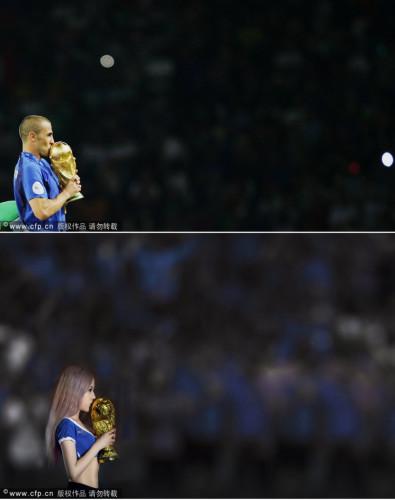宝贝演绎世界杯经典瞬间