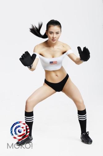 高清图-美空足球宝贝力挺美国
