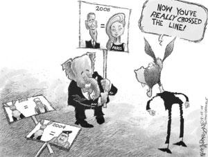 漫画:麦凯恩拿奥巴马比帕里斯漫漫画动作图片