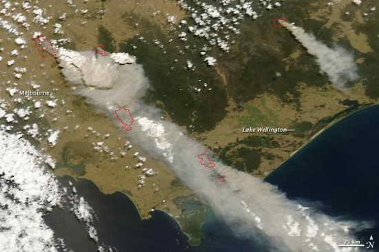NASA公布澳大利亚山火卫星图片(图)