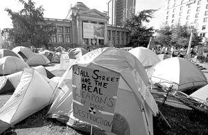"""""""占领温哥华""""示威者的帐篷城 图GJ"""