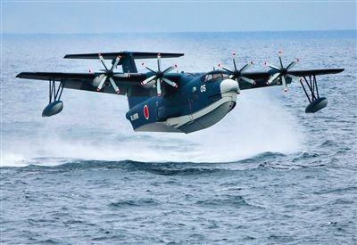 """US-2""两栖巡逻机。生产商:新明和工业 日本海上自卫队所使用的一种军用搜救飞机,可用于森林防火。"