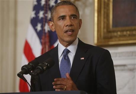奥巴马在白宫发表讲话。