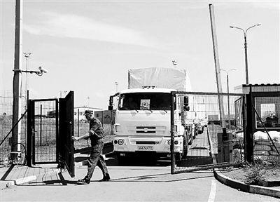 8月22日,载有人道主义援助物资的俄罗斯车队驶入乌克兰 供图/IC