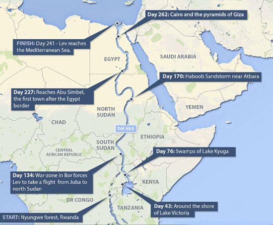 这张地图显示伍德在9个月内走完世界最长河流。(网页截图)