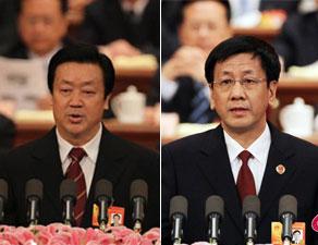 王胜俊(左)与曹建明分别作高法高检工作报告