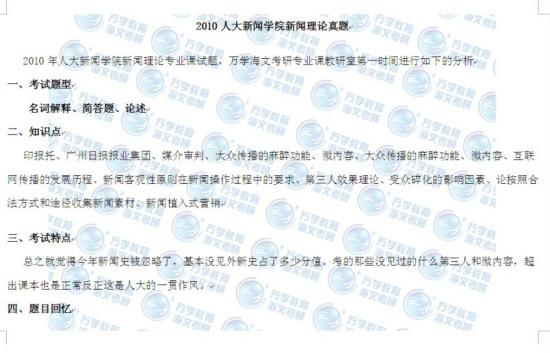 2010年中国人民大学新闻理论考研真题(海文)