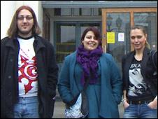 Phillip, Daya and Eva at Goldsmiths, University of London