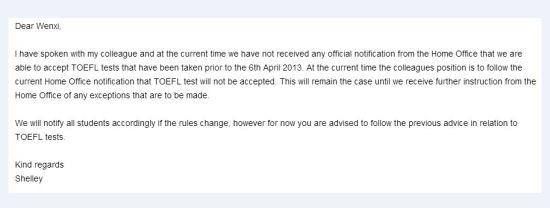 英国皇家艺术学院(RCA)的回复邮件截图