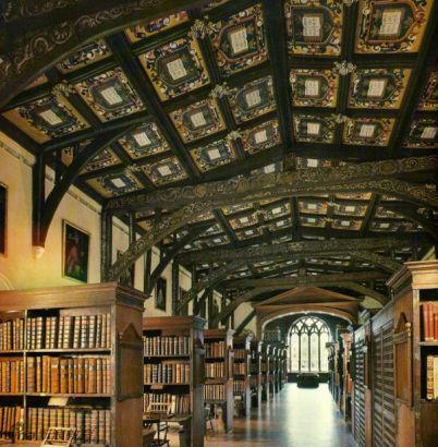 英国牛津,牛津大学,波雷安图书馆中的,韩夫瑞公爵图书馆Duke Humfrey's Library, Bodleian Library, Oxford University, Oxford, UK