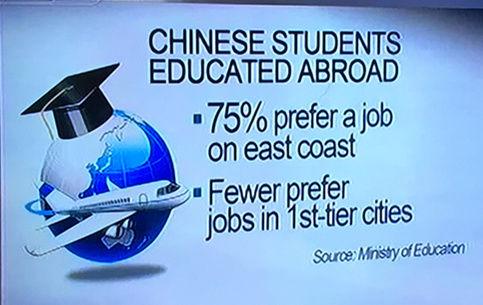 75%海归会在东部沿海地区找工作