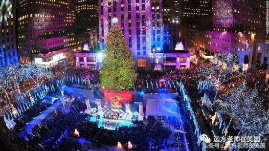 纽约洛克菲勒中心的圣诞树树