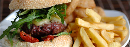 Burger and chips - a typical gastro pub meal