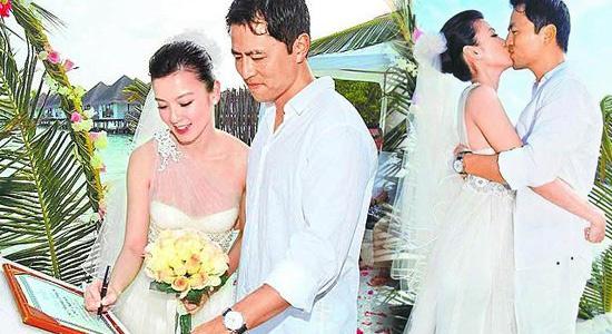 林熙蕾杨晨马尔代夫婚礼直击 新人海边拥吻