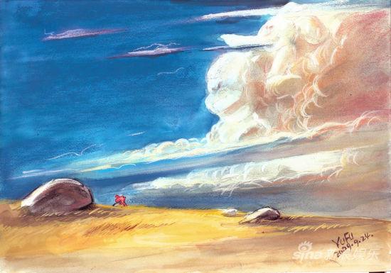 《我是狼》手绘场景图—蓝天白云