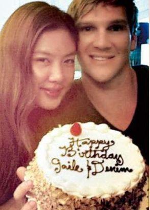 乐基儿与男友Cuz在旧金山一起庆祝生日,并一起做蛋糕