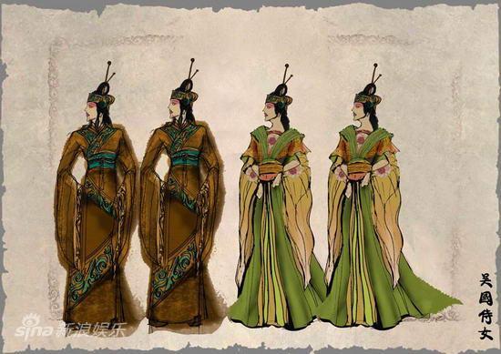 资料:歌剧《西施》人物服装设计图--吴国侍女