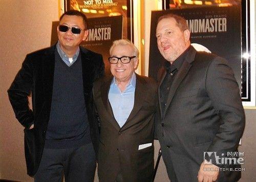 王家卫、斯科塞斯、哈维・韦恩斯坦(左起)欢聚《一代宗师》北美首映
