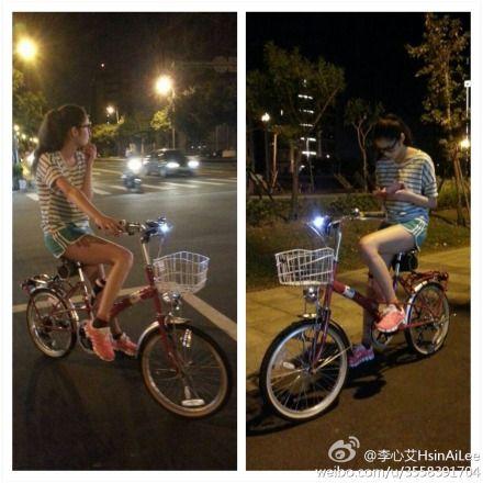 李心艾骑单车秀长腿