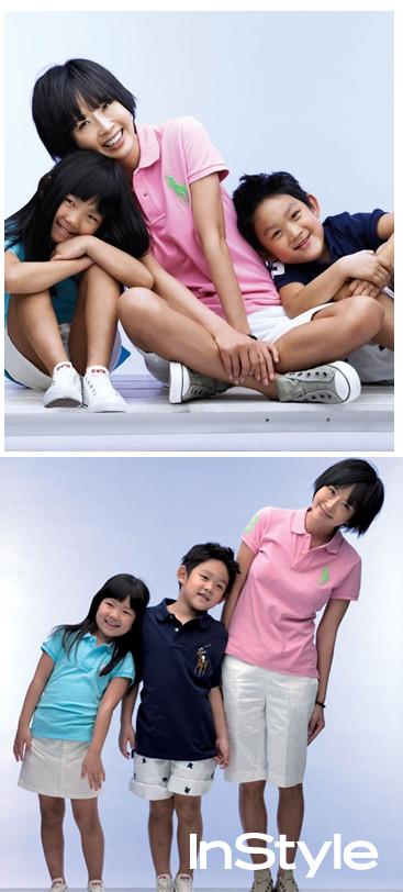 资料图片:崔真实和她的孩子们(12)