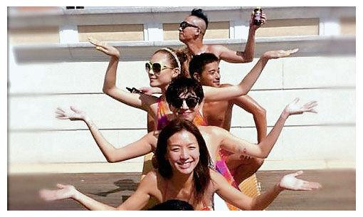 郑希怡(第二行)与应采儿(第三行)及陈小春(后)一起去泰国游玩,岂料发生意外