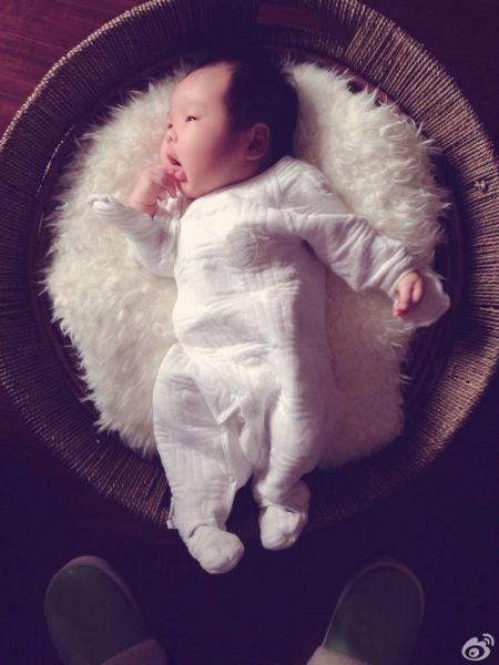 哈辉在微博po出儿子的可爱照片,还有杨柳抱着宝宝的亲昵父子照,画面十